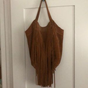 Zara Cognac Suede Fringe Bag